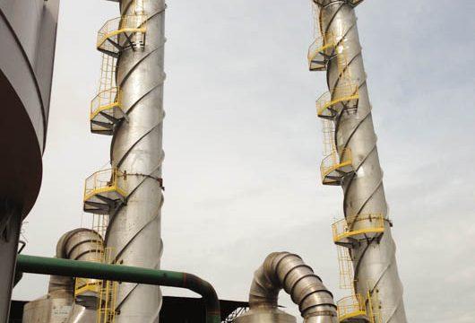 Sistem ade Lavagem de Gases em Inox 410D, instaladono  Grupo Raízen, unidade, Santa Helena